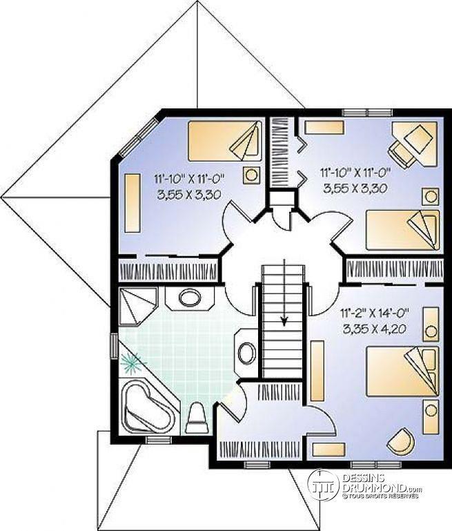 W2747 - 3 à 4 chambres, bureau à domicile, cuisine avec îlot, séjour - plan maisonnette en bois