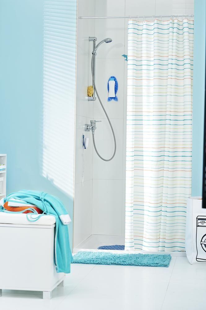 Tchibo Badezimmer | Bringt Farbe Ins Bad Bunt Gestreifter Textil Duschvorhang Fur