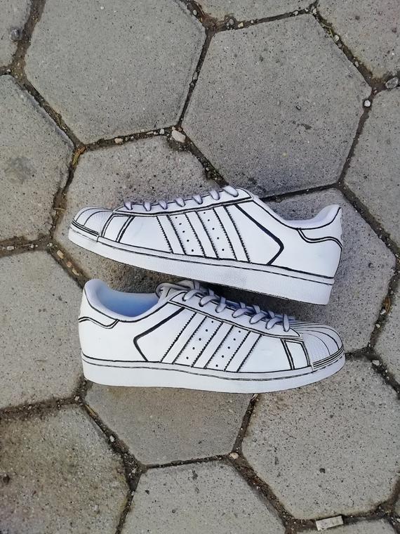 Comic book Custom adidas superstar, custom sneakers , custom
