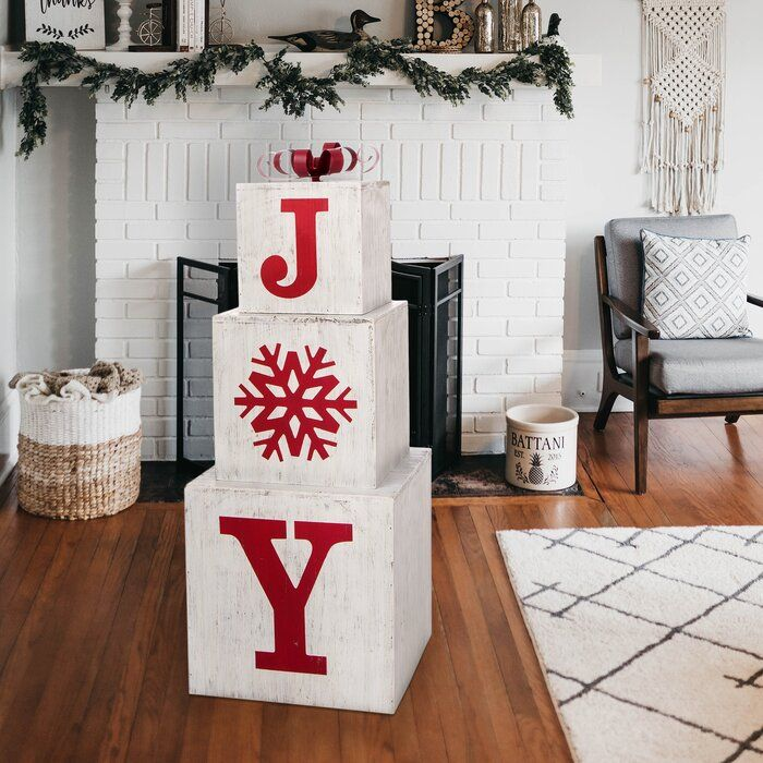 Christmas Wooden Joy Box Décor -   17 diy christmas decorations dollar store farmhouse ideas