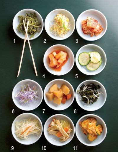 Korean banchan 101 served in small bowls filled with healthy foods korean banchan 101 served in small bowls filled with healthy foods like carrots zucchini cabbage cucumber turnip etc forumfinder Choice Image