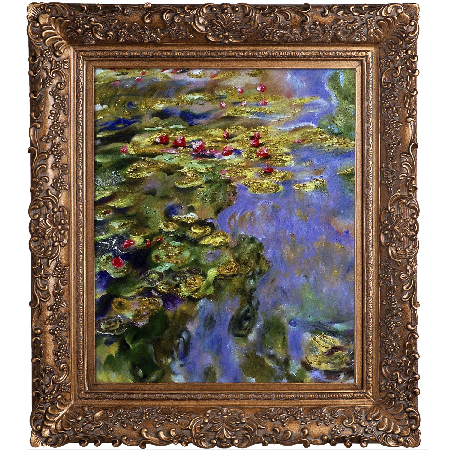 13fb96c5efd4 La Pastiche Water Lilies Metallic Embellished Artwork By Claude Monet with  Burgeon Gold Frame