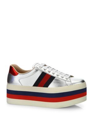 d40a5ff6b795 GUCCI New Ace Metallic Leather Platform Sneakers.  gucci  shoes  sneakers