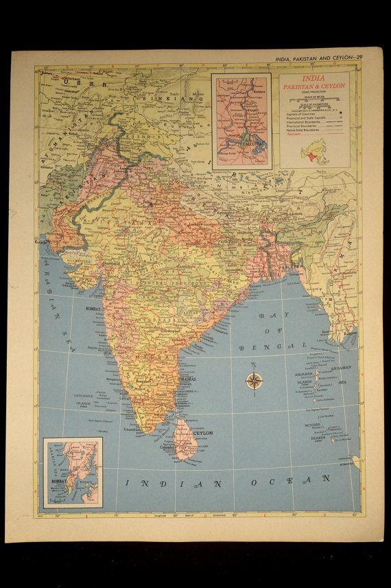 India map india vintage pakistan ceylon island 1950s 1953 vintage vintage map india pakistan ceylon island 1950s 1953 gumiabroncs Choice Image