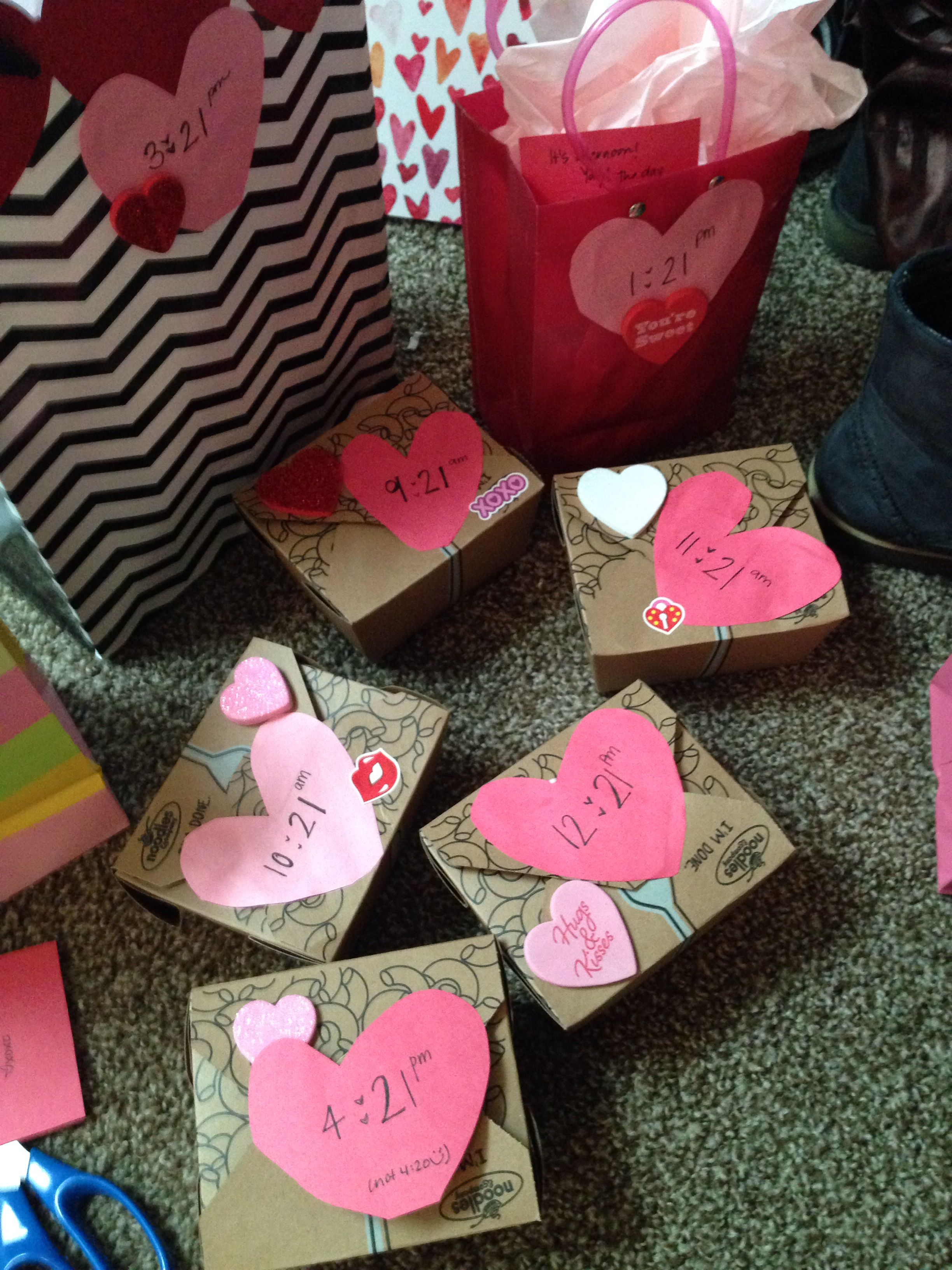 If you can't see your man during the day on Valentines day--- you can give a little gift every hour! It can all lead to one big present or little thoughtful gifts throughout the day