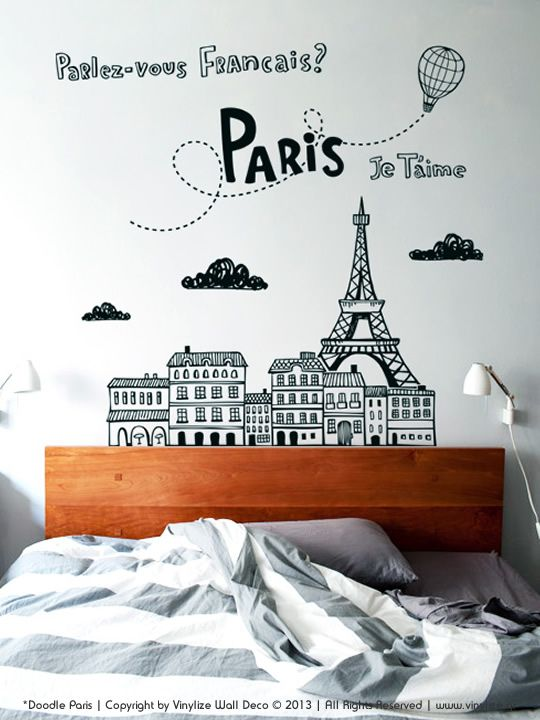Doodle Paris Wall Sticker Vinylize Wall Deco Paris Wall Paris Decor Bedroom Paris Themed Bedroom
