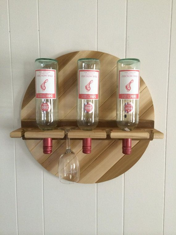 Rustic Reclaimed Handmade Pallet Wine Rack Unique Circle Wall Hanging One Of A Kind With Gl Holders