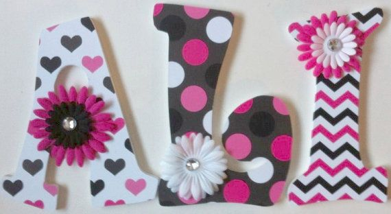 baby nursery wall letters pink and black by deesdazzledesigns