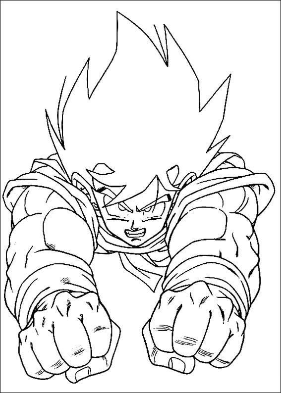 Dragon Ball Z Goku Is Flying Coloring Pages For Kids Printable
