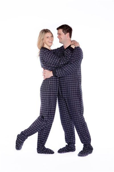 681e7d8eba Black   White Plaid 100% Cotton Flannel Adult Footed Pajamas No Drop Seat  Onesie