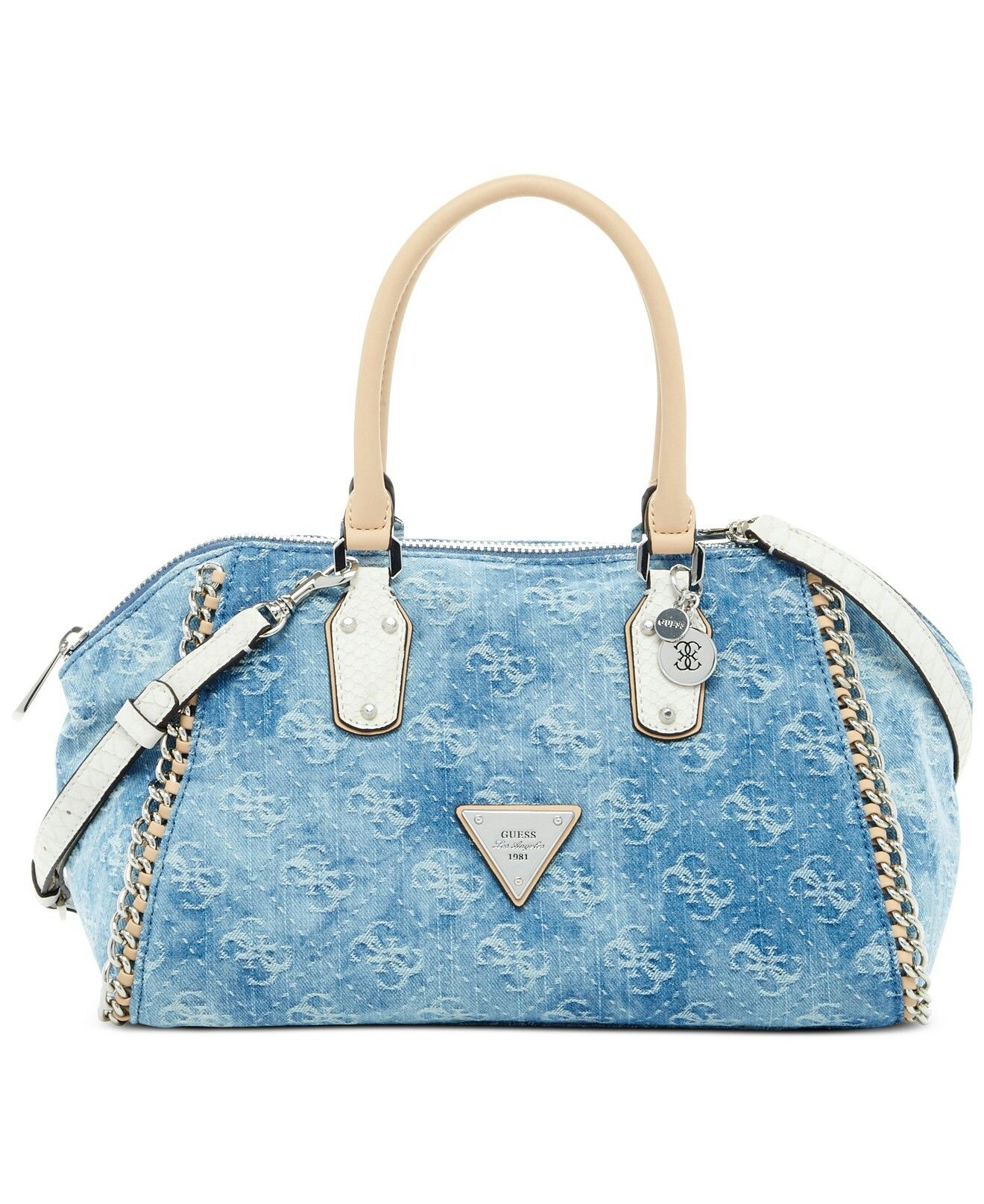 GUESS Amelle Denim Signature Uptown Medium Satchel - All Handbags - Handbags    Accessories - Macy s 53810cf3de2cf