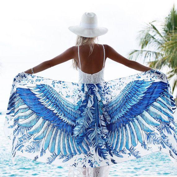 Gift For Her Printed Shawl Boho Scarf Blue Shawl Blue by Shovava
