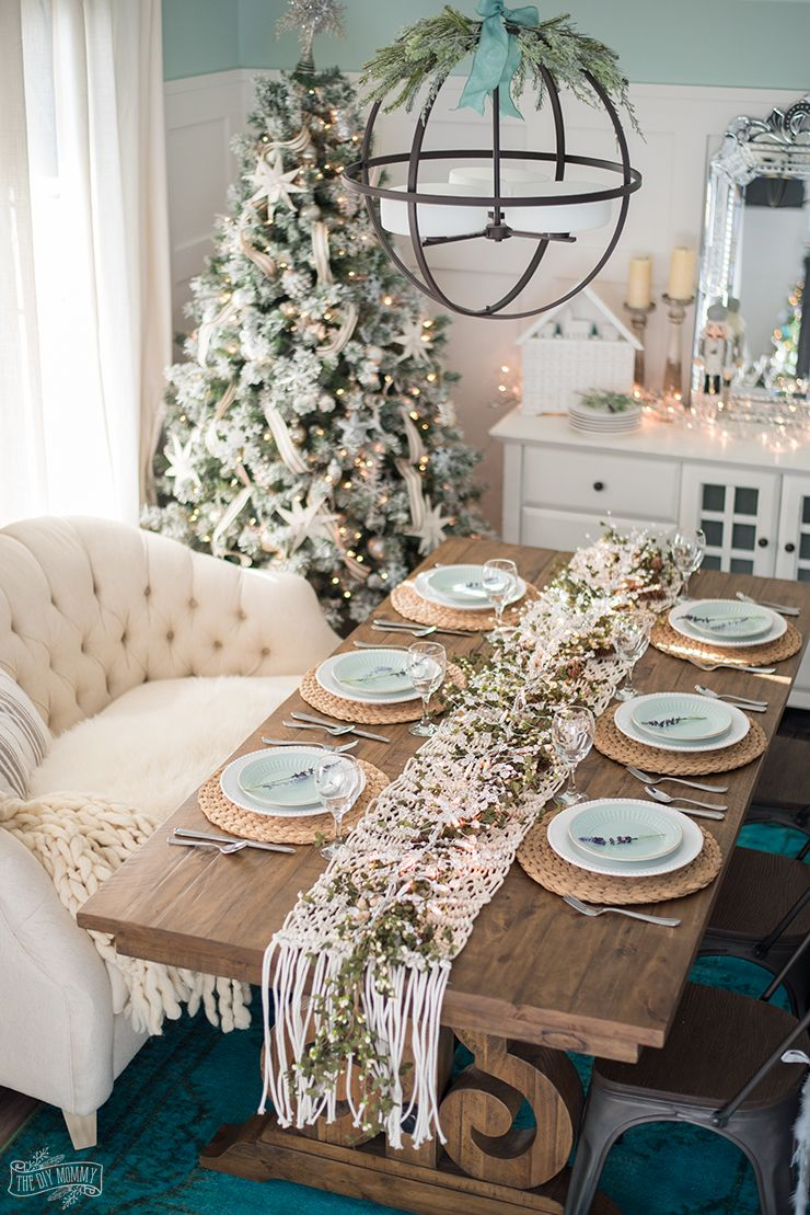 French Country Farmhouse Christmas Dining Room & Table