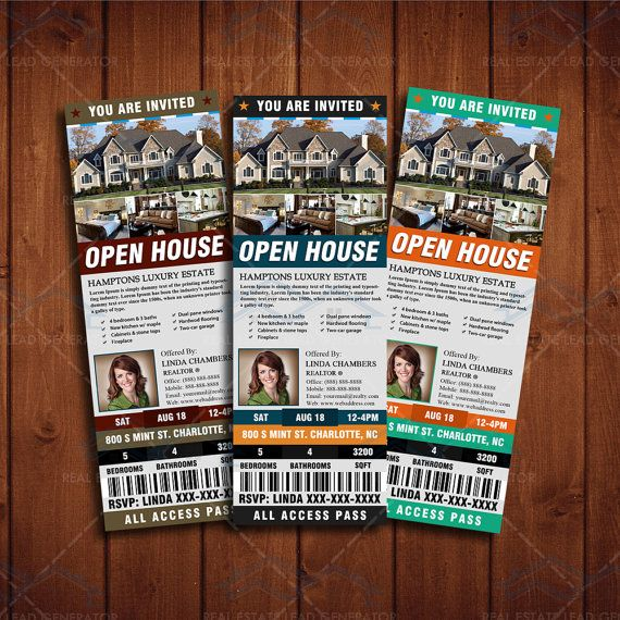 2x7 Open House Event Ticket Template Newly by CreativeEtsyDesigns - design tickets template