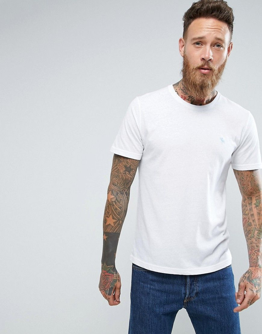 cbe5eaac1 Abercrombie & Fitch Slim Fit T-Shirt Pop Icon Crew Neck in White - Whi