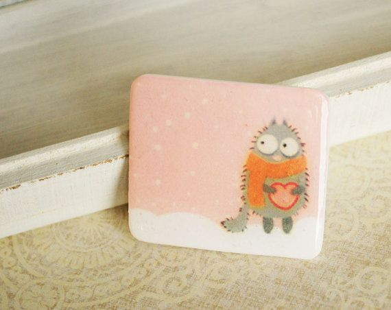 Cute cat brooch from polymer clay