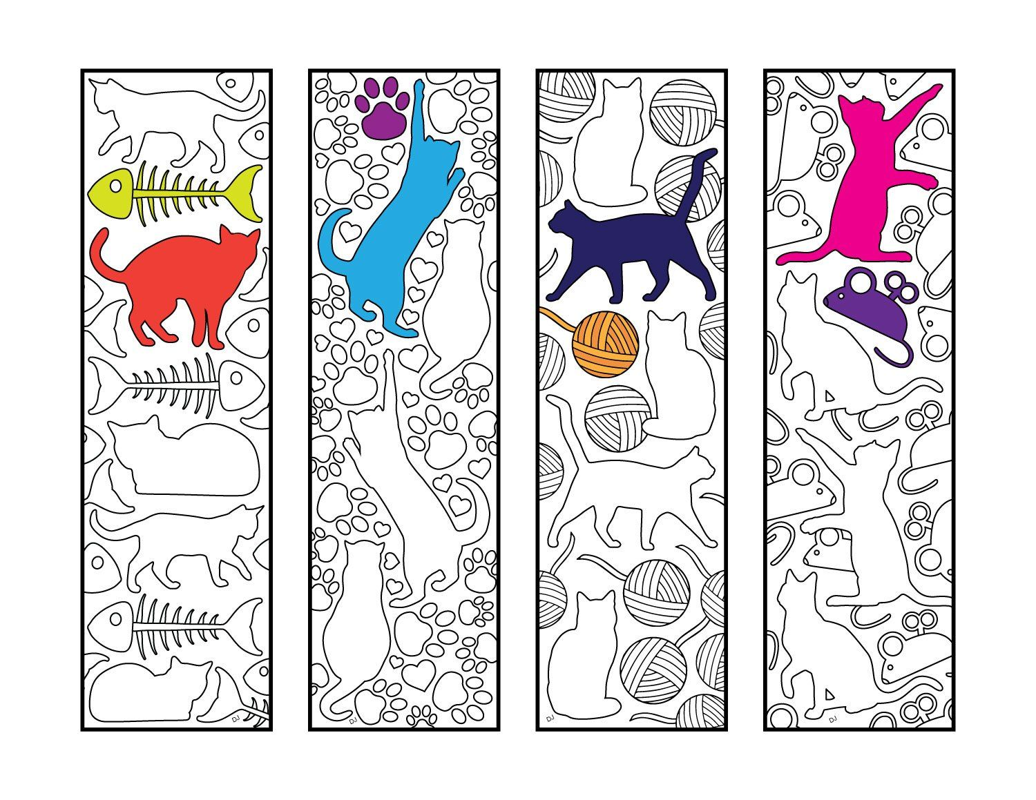 image regarding Printable Bookmarks Pdf referred to as Adorable Cat Bookmarks - PDF Zentangle Coloring Web page Coloring