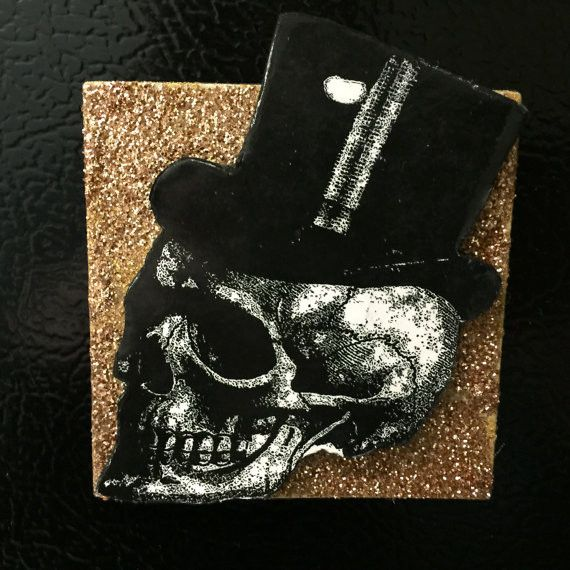 Top Hat Skull Gold Glitter Magnet Handmade and One of a Kind