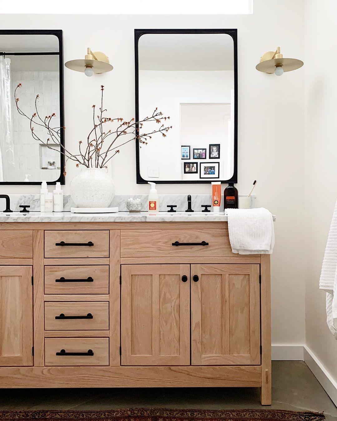 42++ Natural wood cabinets bathroom model