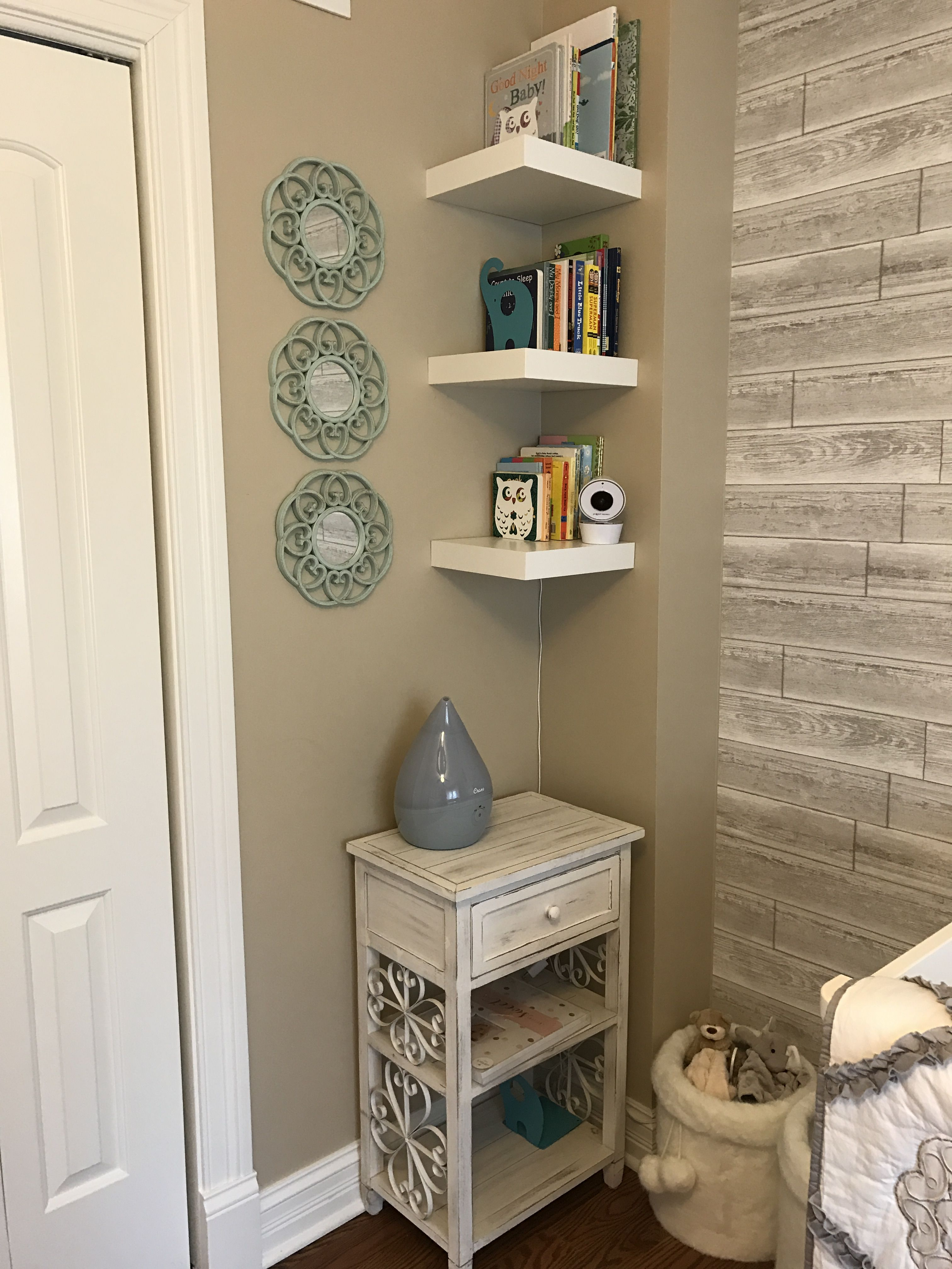 Baby Dahl Nursery Bookshelves From Ikea Accent Mirrors And Night Stand Home Goods