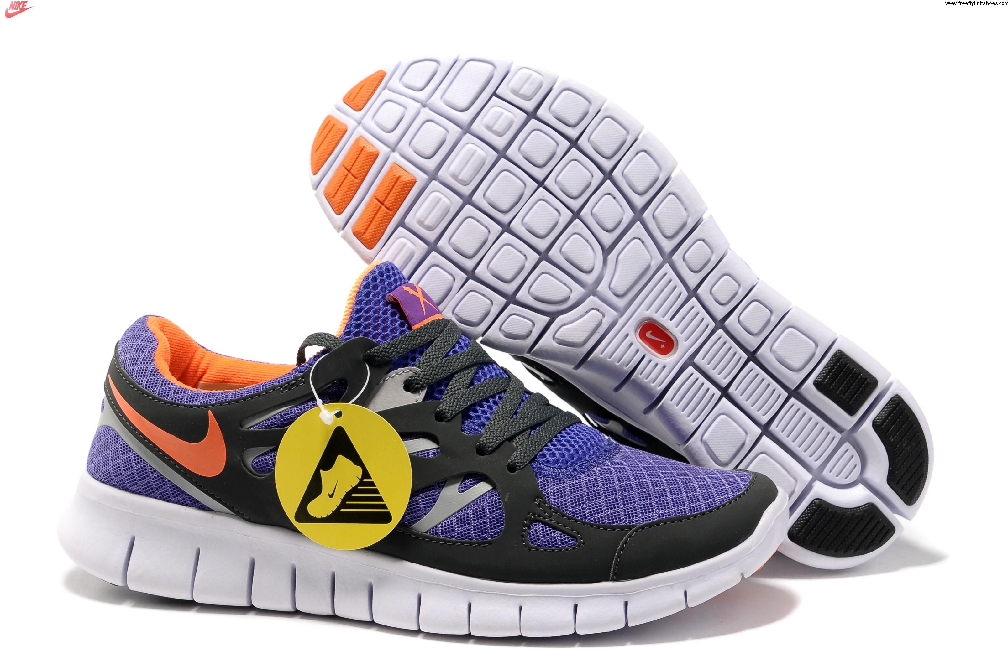 Today's Deals Mens Nike Free Run 2 Pure Purple Total Orange Anthracite Wolf Grey  Shoes Lightweight