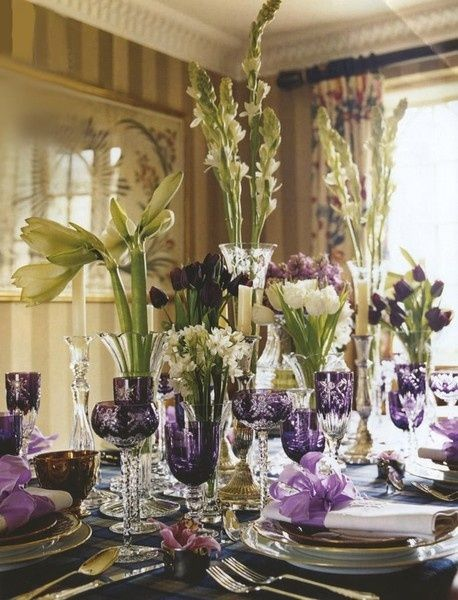 Tablescape using white stems and accent glass with deep purple cut ...