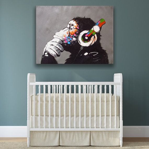 Banksy Monkey With Headphones Wall Art Canvas Print - Colorful Chimp