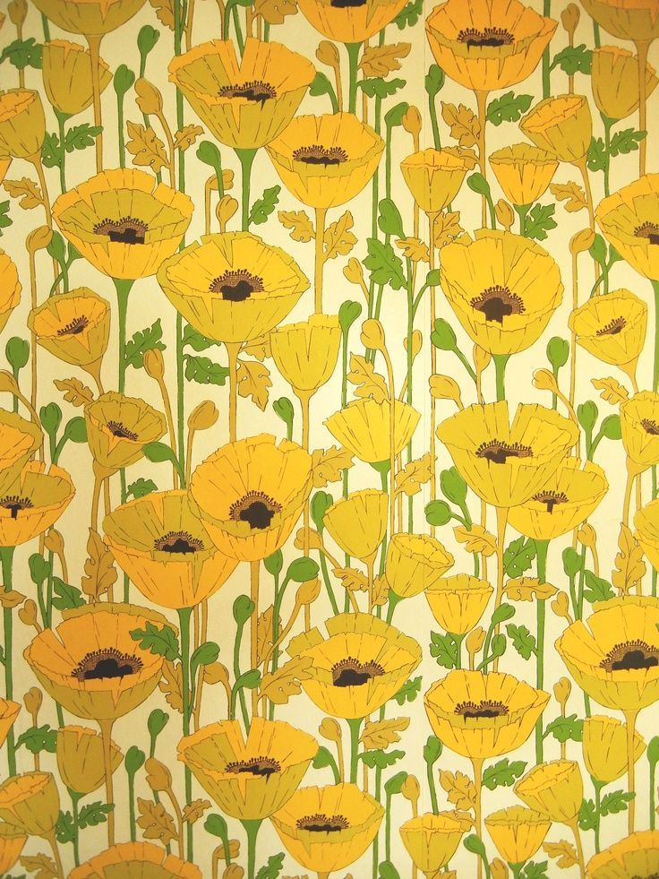 60 S Wallpaper Inspiration For A Fresh Color Scheme Vintage Boho Yellow Floral Pattern 60s Wallpaper Floral Wallpaper Pattern Wallpaper