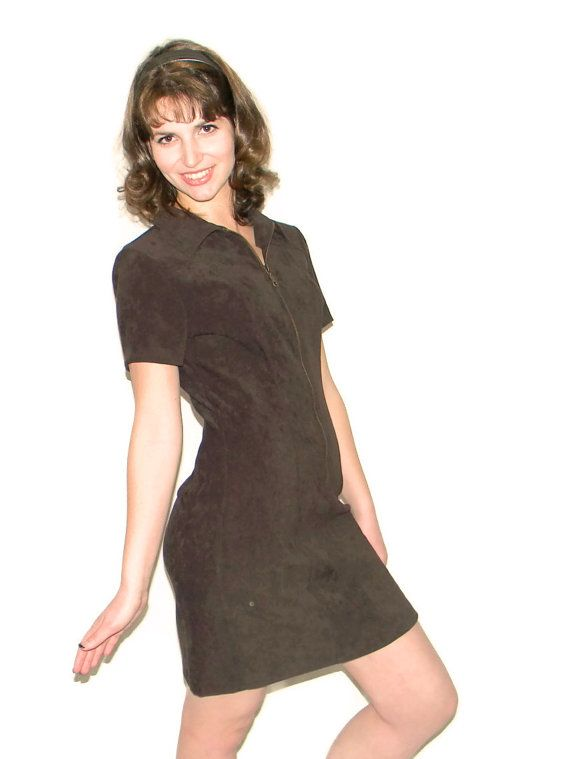 Vintage Brown Zipup Dress. 80s Shift Dress by by ChickClassique, $28.00