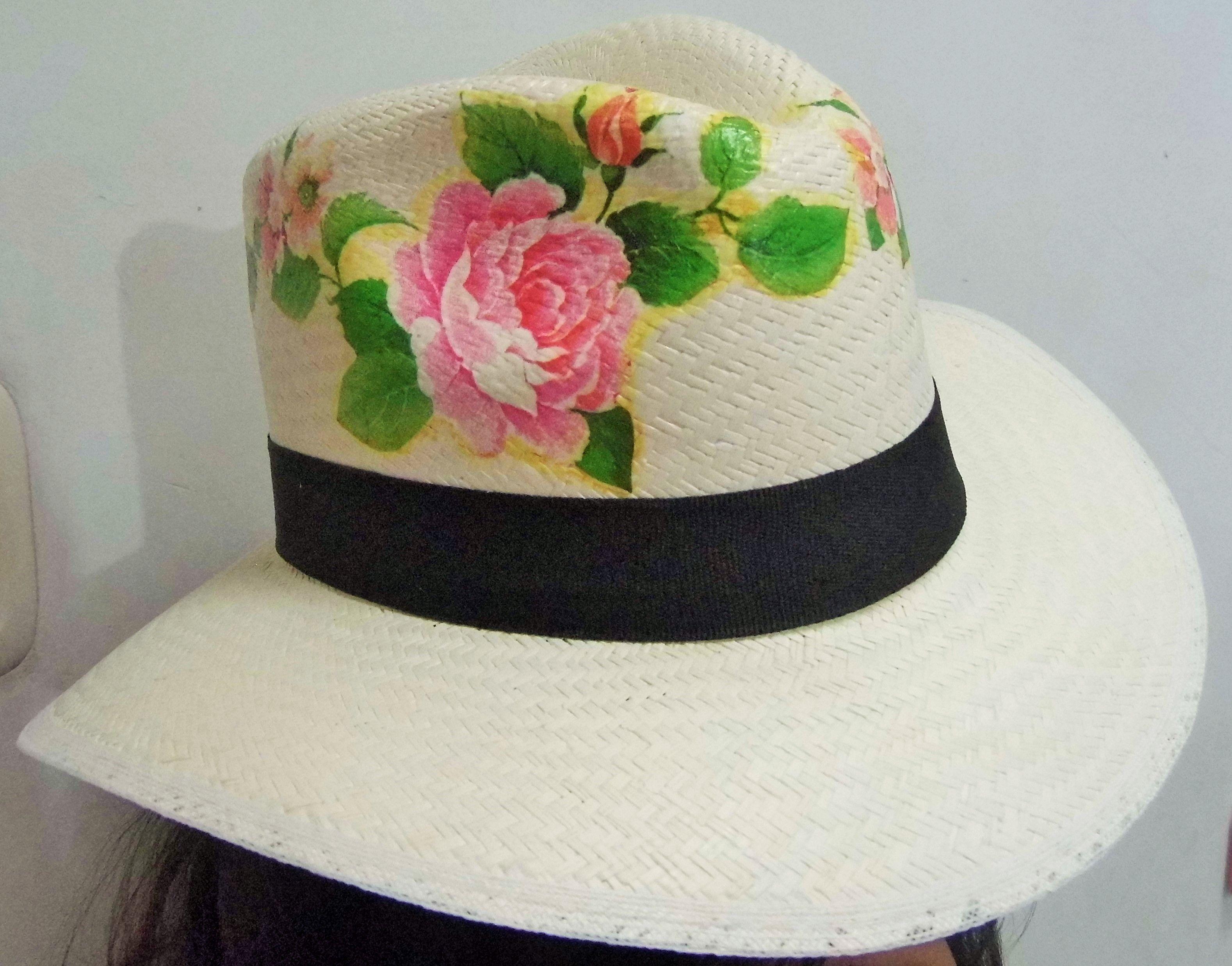 c1126bd2f Decoupage sobre sombrero. Sombreros decorados | Sombreros ...