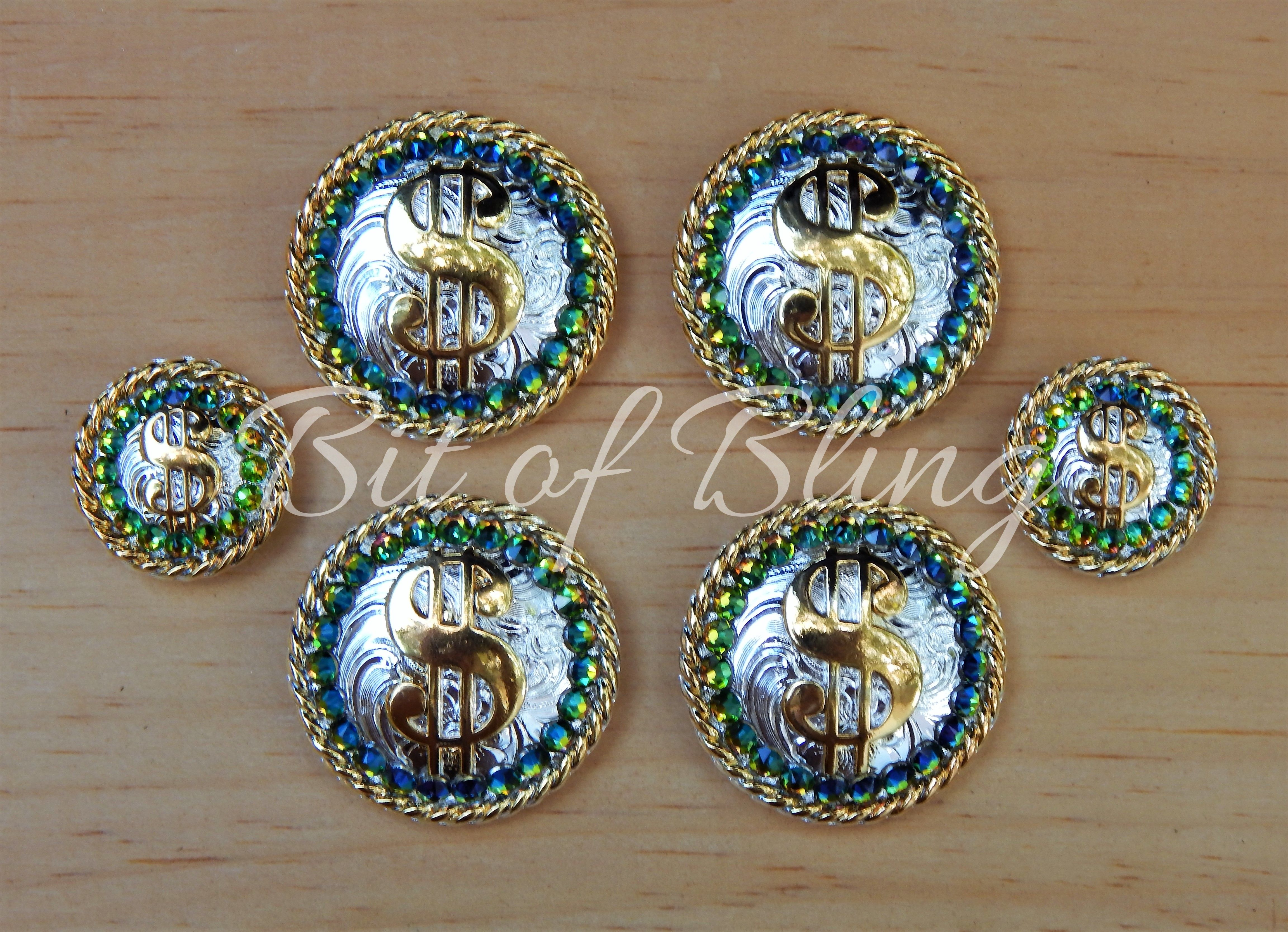 Silver /& Gold Round Rope Edge Money Cash Concho Horse Tack Rodeo Barrel Racing Pole Bending Trail Riding Western Pleasure Equine