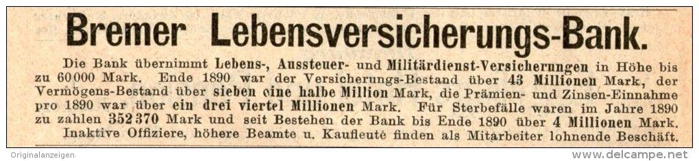 OriginalWerbung/Inserat/ Anzeige 1891 BREMER