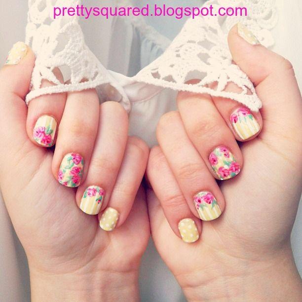 Pretty (Squared) Spring Floral Nails -   prettysquared