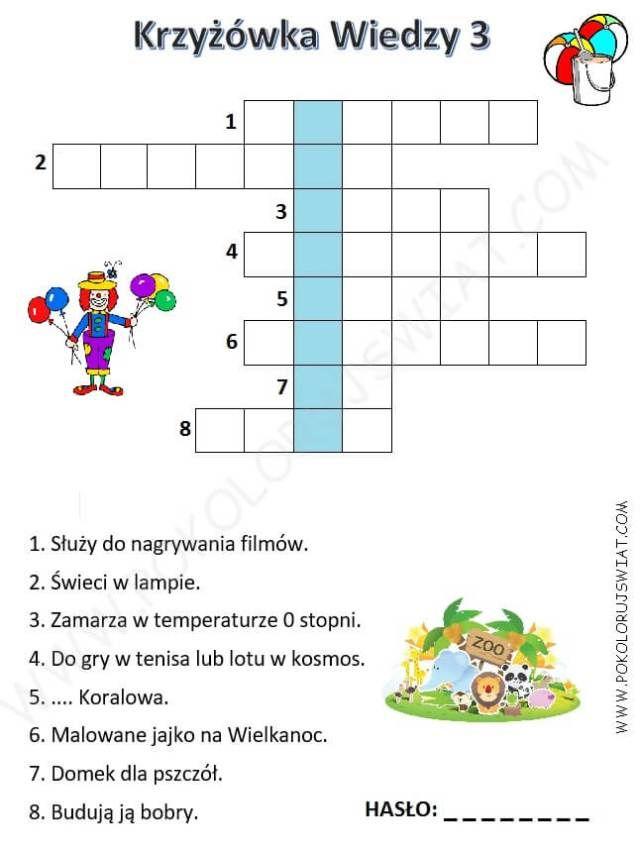 Krzyzowka Wiedzy 3 Dla Dzieci Do Wydruku Home Learning Education Kids