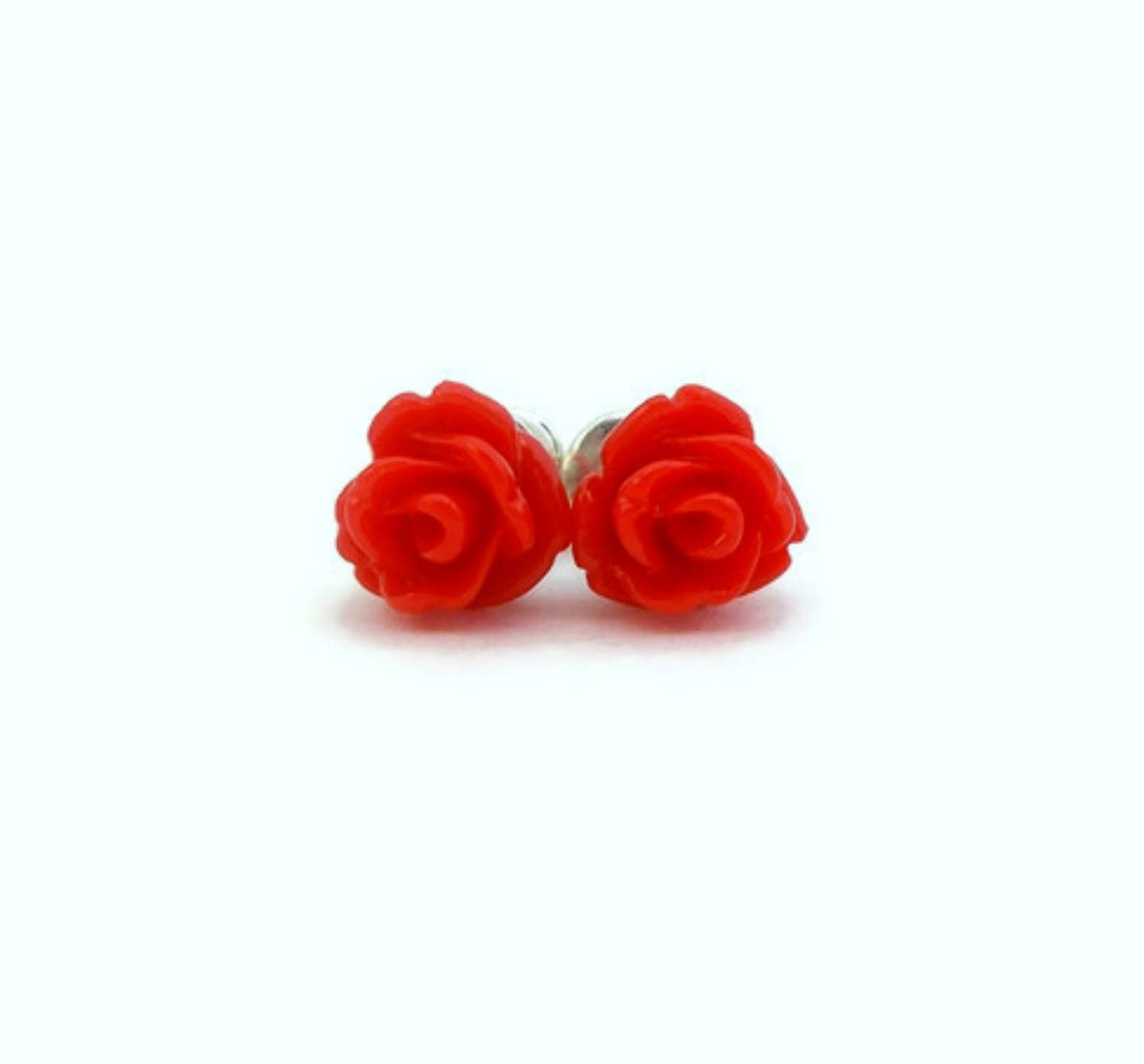 Tiny Stud Earring Red Rose Earrings Cute Studs Y For Sensitive Ears Tween S Rosette
