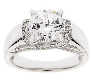 Diamonique 100 Facet 2 35 Cttw Fancy Gallery Ring Platinum Clad Qvc Com Fashion Rings Silver Unique Engagement Rings Wedding Rings Engagement