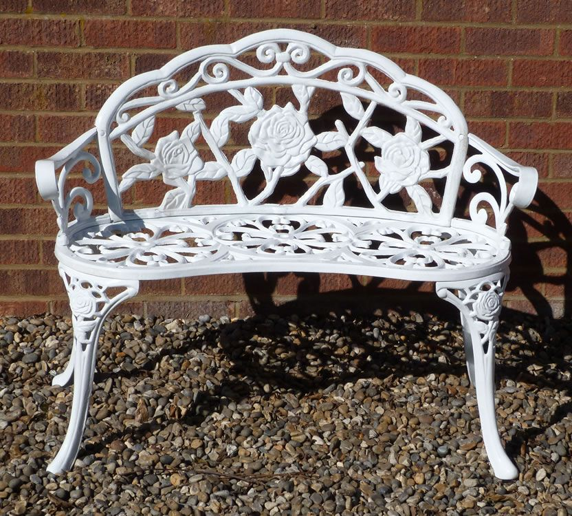 Details About White Cast Iron Garden Bench Furniture Rose