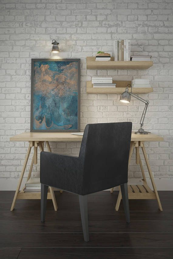 Modern abstract art watercolor blue and copper wall contemporary home decor metallic also rh pinterest