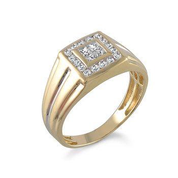 Bague pour homme sertie de diamants totalisant 0.50 Carats Pureté:I Couleur:GH - en Or jaune 10K