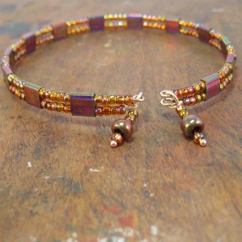 Miyuki Tila And Seed Bead Memory Wire Bracelet Wtih Dangles