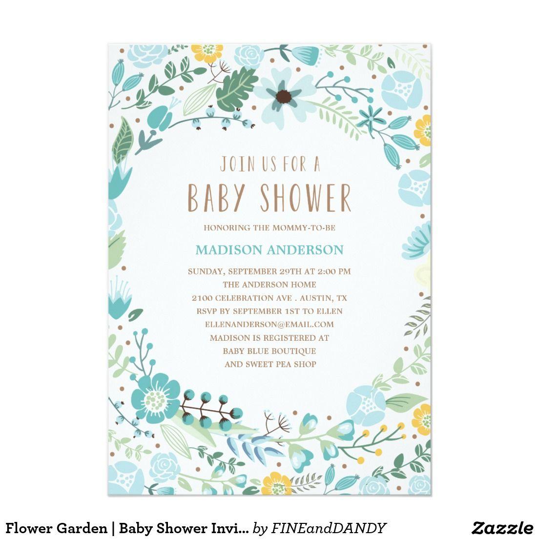 Flower garden baby shower invitation garden baby showers shower flower garden baby shower invitation filmwisefo
