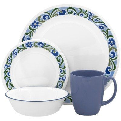 Corelle Contours Serenity 16-Piece Dinnerware Set Service for 4 by World Kitchen (  sc 1 st  Pinterest & Corelle Contours Serenity 16-Piece Dinnerware Set Service for 4 by ...