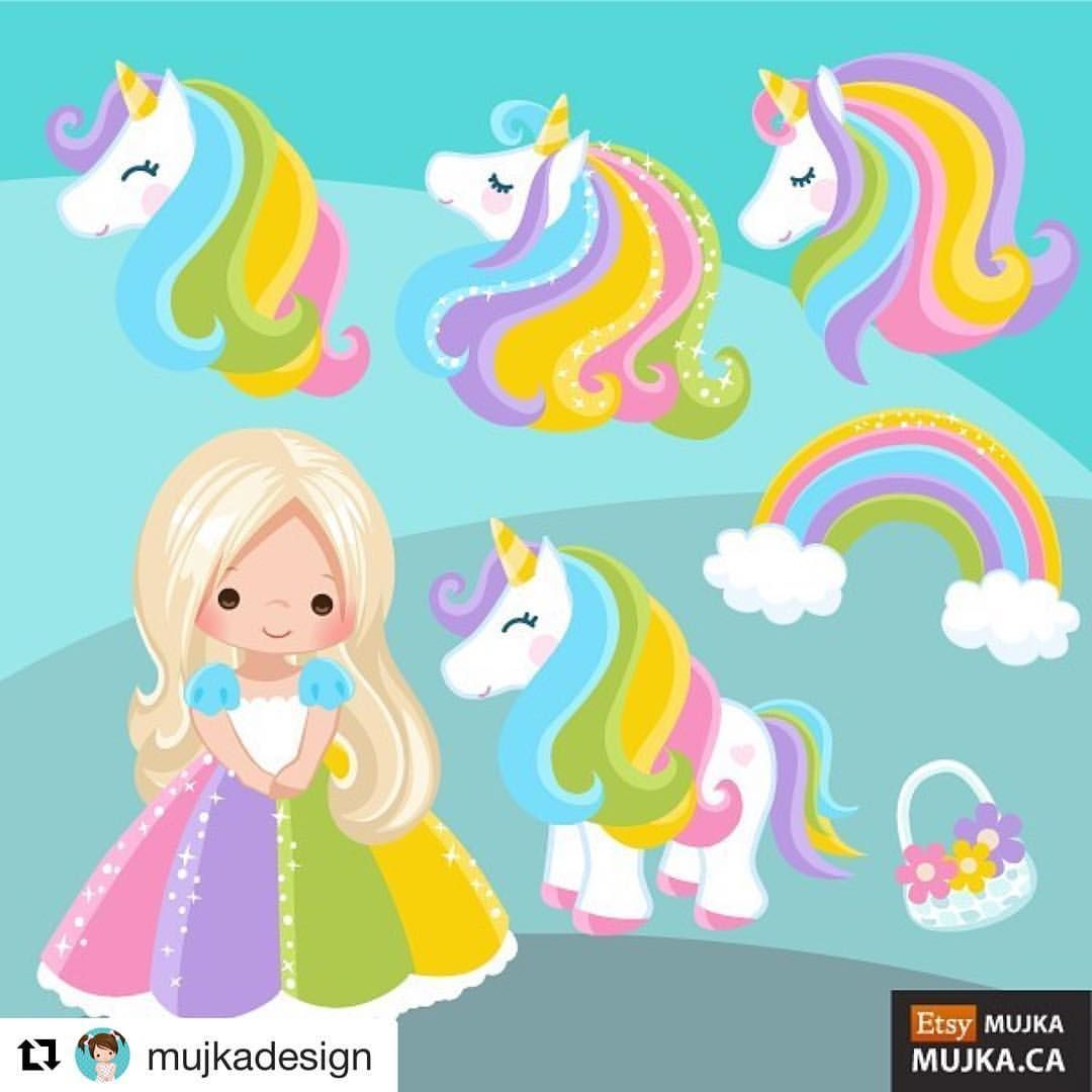 """65 Likes, 2 Comments - Mujka DESIGN (@mujkadesign) on Instagram: """"Hey Unicorn lovers. It's time to release some new summer graphics! Here is a cute rainbow  …"""""""