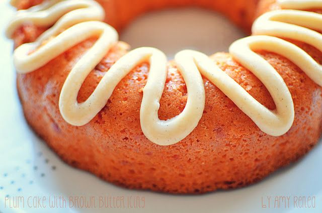 plum bundt cake with brown butter icing
