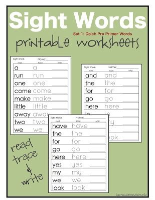 Just Sweet And Simple Preschool Practice Printable Dolch Site Word