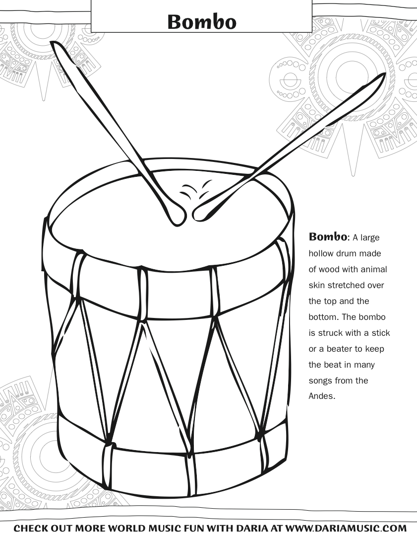 Color The Instruments From Hispanic