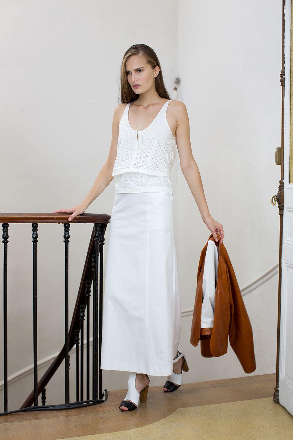 @ChristopheLemaire double débardeur de popeline de cotton perforée et jupe en gabardine de cotton #SpringSummer 2013
