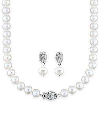 9fa6cd633 Sterling Silver Pearl Necklace and Earrings, Diamond Accent and Cultured  Freshwater Pearl Set - Pearls - Jewelry & Watches - Macy's