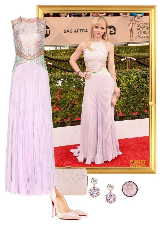 """""""Christina Ricci – 2016 SAG Awards."""" by foreverforbiddenromancefashion ❤ liked on Polyvore featuring Monsoon, Christopher Kane, Tacori, Mike Saatji, Christian Louboutin, women's clothing, women, female, woman and misses"""