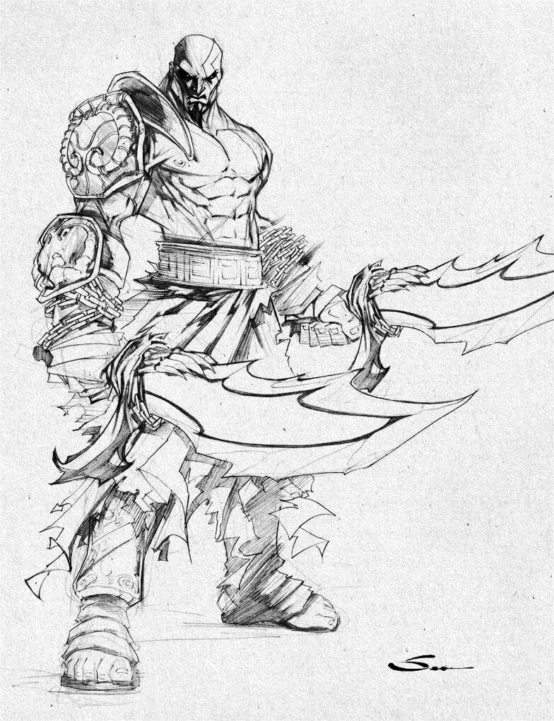 Kratos By Sandoval Art Desenhos A Lapis Desenhos Pra Pintar E